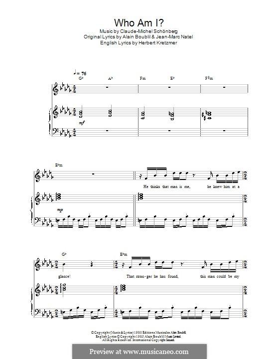 Who am I?: Для голоса и фортепиано (или гитары) by Claude-Michel Schönberg