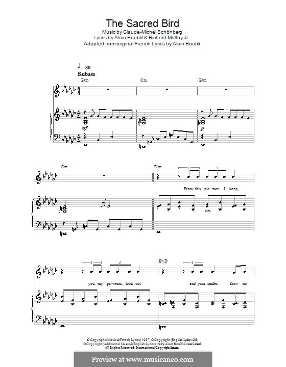 The Sacred Bird: Для голоса и фортепиано (или гитары) by Claude-Michel Schönberg