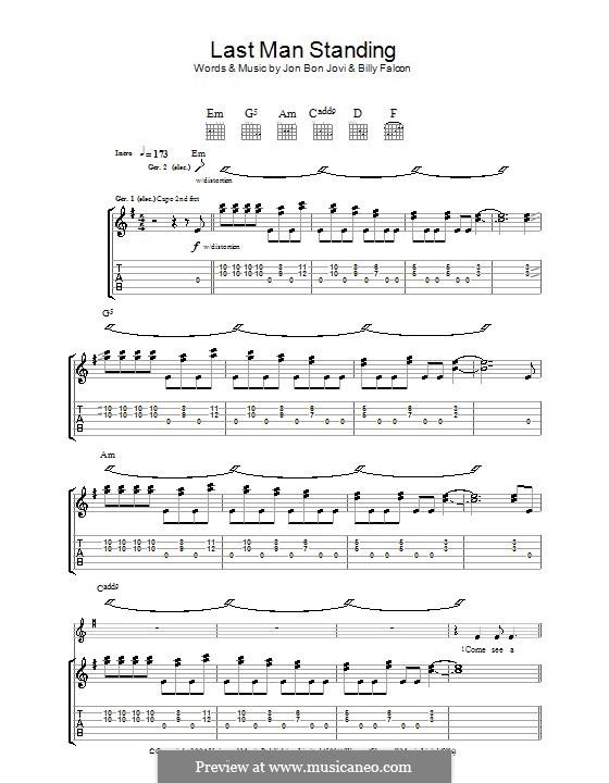 Last Man Standing (Bon Jovi): Гитарная табулатура by Billy Falcon, Jon Bon Jovi