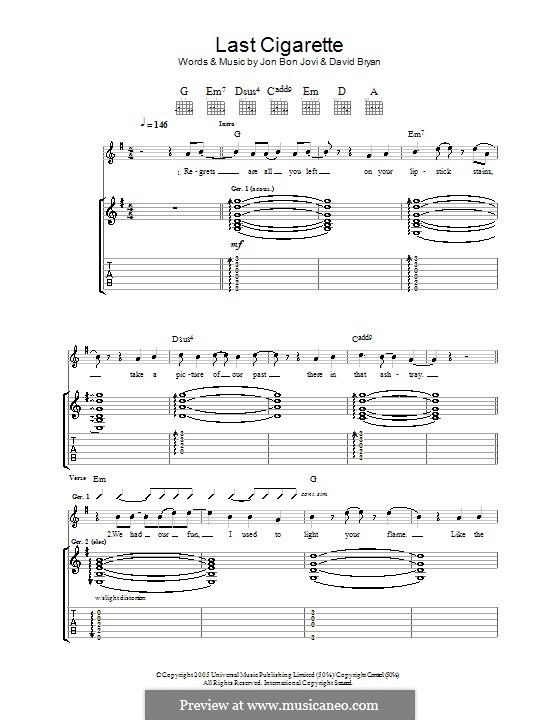 Last Cigarette (Bon Jovi): Гитарная табулатура by David Bryan, Jon Bon Jovi