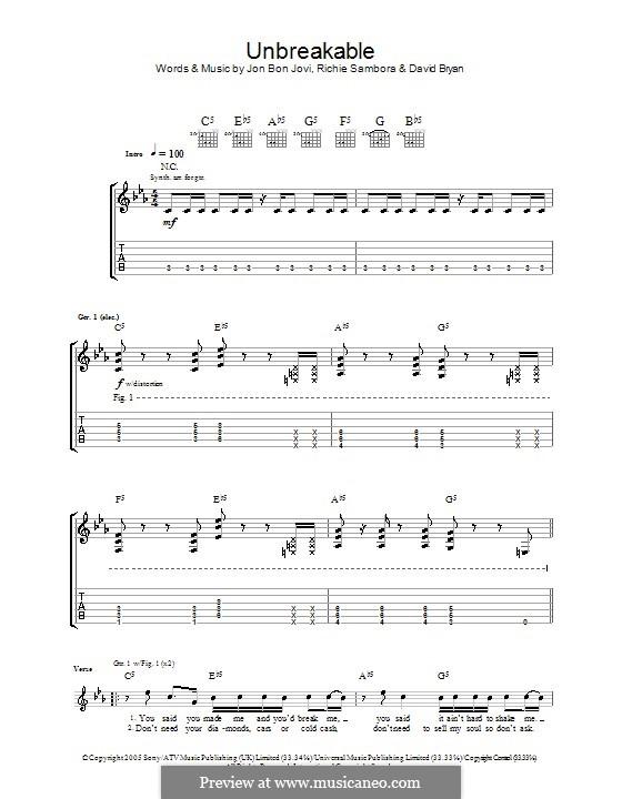 Unbreakable (Bon Jovi): Гитарная табулатура by David Bryan, Jon Bon Jovi, Richie Sambora