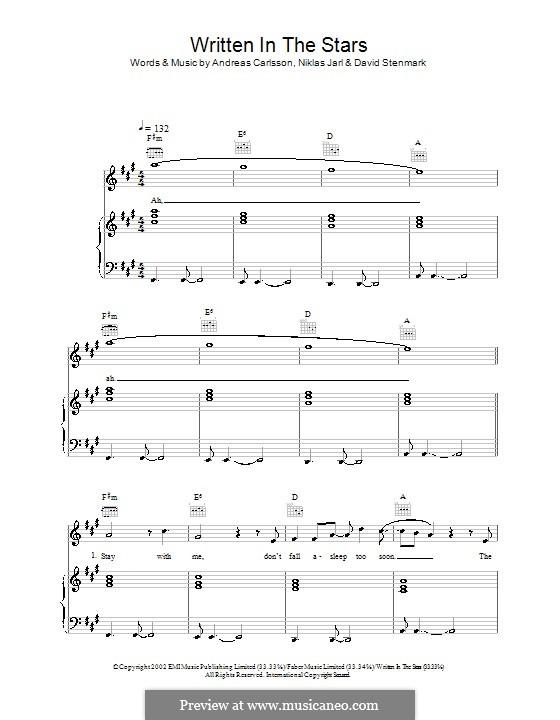 Written in the Stars (Westlife): Для голоса и фортепиано (или гитары) by Andreas Carlsson, David Stenmark, Niklas Jarl