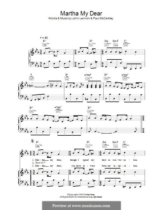 Martha My Dear (The Beatles): Для голоса и фортепиано (или гитары) by John Lennon, Paul McCartney