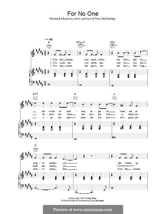 For no One (The Beatles): Для голоса и фортепиано (или гитары) by John Lennon, Paul McCartney