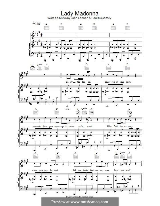 Lady Madonna (The Beatles): Для голоса и фортепиано (или гитары) by John Lennon, Paul McCartney