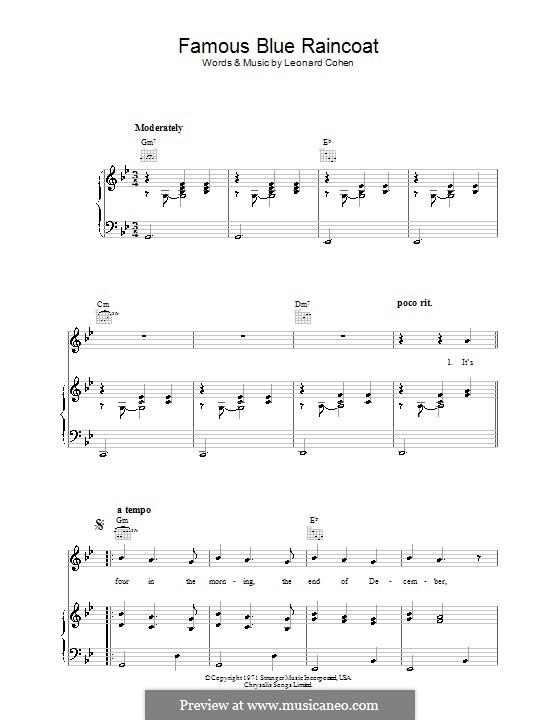 Famous Blue Raincoat: Для голоса и фортепиано (или гитары) by Leonard Cohen