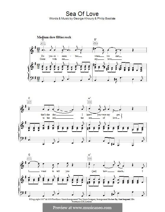 Sea of Love: Для голоса и фортепиано (или гитары) by George A. Khoury, Phil Baptiste