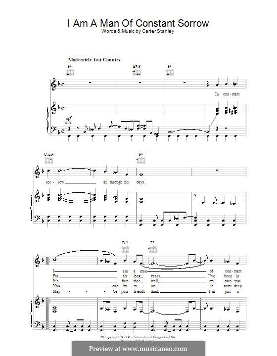 I am a Man of Constant Sorrow (The Soggy Bottom Boys): Для голоса и фортепиано (или гитары) by Carter Stanley