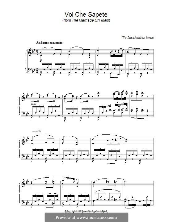 Voi, che sapete: Версия для фортепиано by Вольфганг Амадей Моцарт