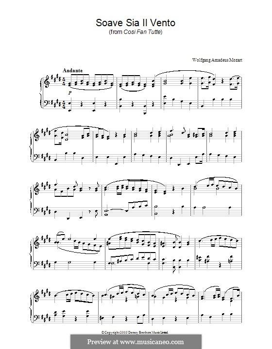 Soave Sia 'il Vento: Аранжировка для фортепиано by Вольфганг Амадей Моцарт