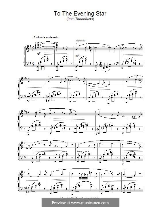 О ты, вечерняя звезда: Для фортепиано (ноты высокого качества) by Рихард Вагнер