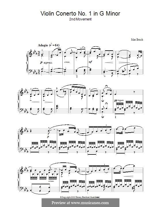 Концерт для скрипки с оркестром No.1 соль минор, Op.26: Часть II. Версия для фортепиано by Макс Брух
