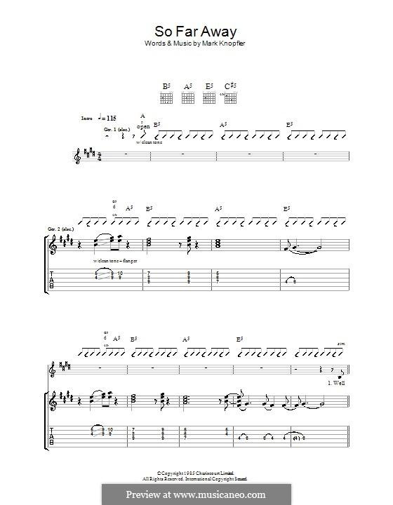 So Far Away (Dire Straits): Гитарная табулатура by Mark Knopfler