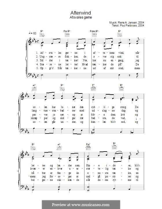 Aftenvind - Afsvales Gerne: Для голоса и фортепиано (или гитары) by René A. Jensen