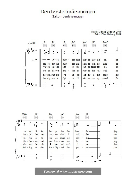 Den Første Forårsmorgenmorgen - Så Kom Den Lyse Morgen: Для голоса и фортепиано (или гитары) by Michael Bojesen