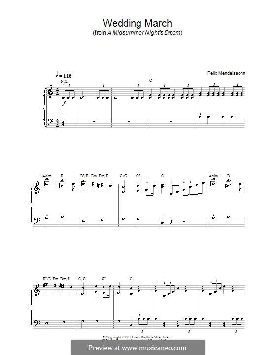 Wedding March (Printable Scores): Для начинающего пианиста by Феликс Мендельсон-Бартольди