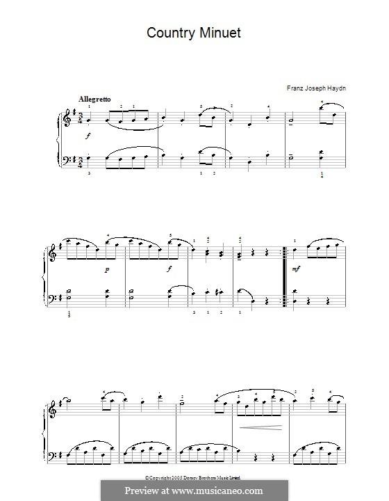 Country Minuet: Для фортепиано by Йозеф Гайдн