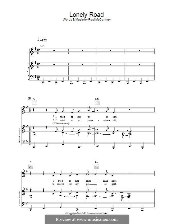 Lonely Road: Для голоса и фортепиано (или гитары) by Paul McCartney