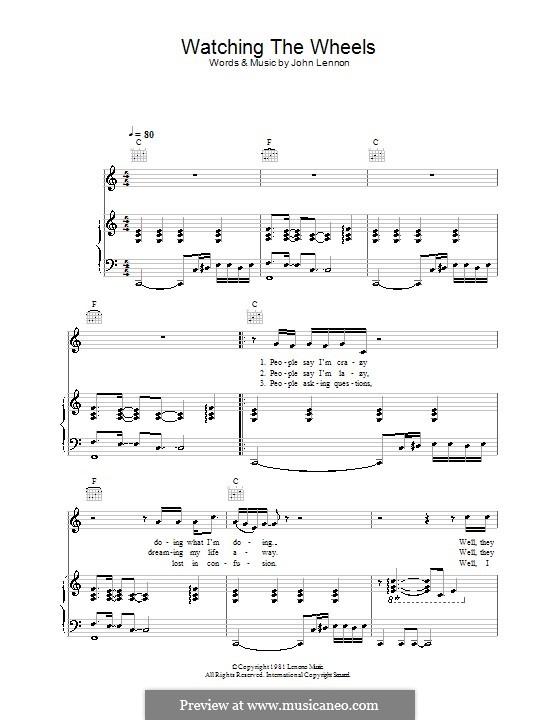 Watching the Wheels: Для голоса и фортепиано (или гитары) by John Lennon