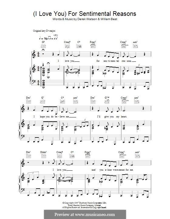 (I Love You) For Sentimental Reasons (Nat King Cole): Для голоса и фортепиано (или гитары) by William Best