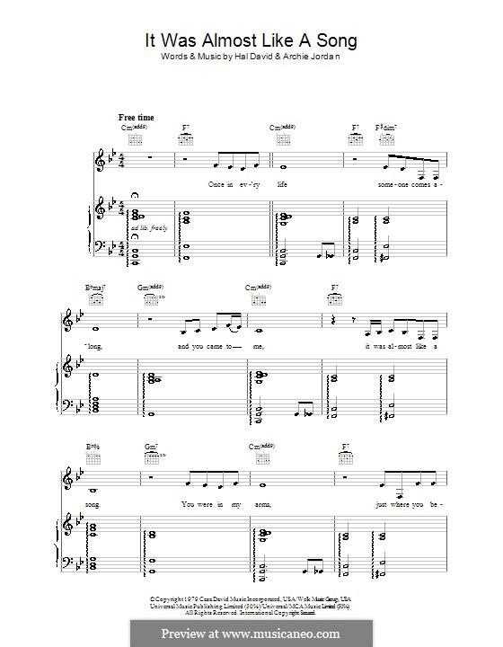 It Was Almost Like a Song (Ronnie Milsap): Для голоса и фортепиано (или гитары) by Archie Jordan, Hal David