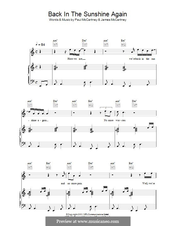 Back in the Sunshine Again: Для голоса и фортепиано (или гитары) by James McCartney, Paul McCartney