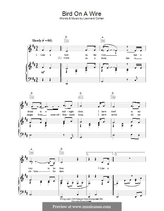 Bird on the Wire (Bird on a Wire): Для голоса и фортепиано (или гитары) by Leonard Cohen