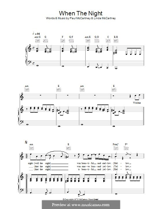 When the Night: Для голоса и фортепиано (или гитары) by Linda McCartney, Paul McCartney