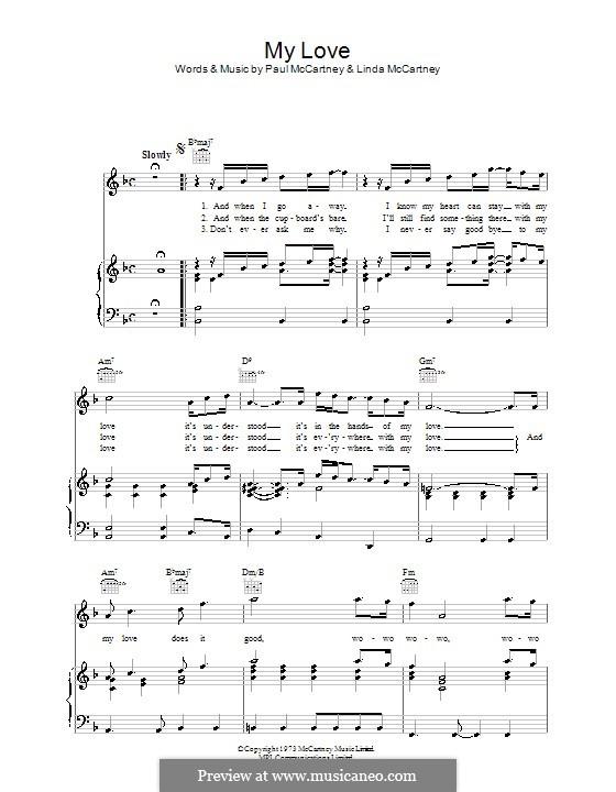 My Love (Wings): Для голоса и фортепиано (или гитары) by Linda McCartney, Paul McCartney