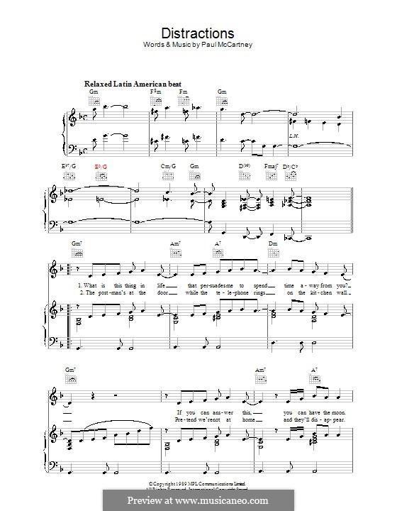 Distractions: Для голоса и фортепиано (или гитары) by Paul McCartney