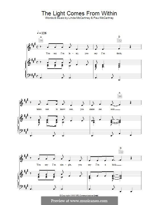 The Light Comes from Within: Для голоса и фортепиано (или гитары) by Linda McCartney, Paul McCartney