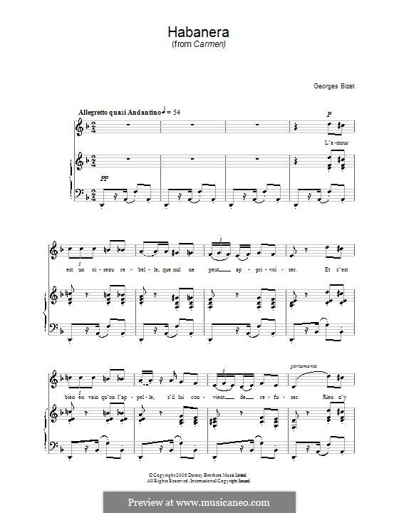 Хабанера: Для голоса и фортепиано (ноты высокого качества) by Жорж Бизе