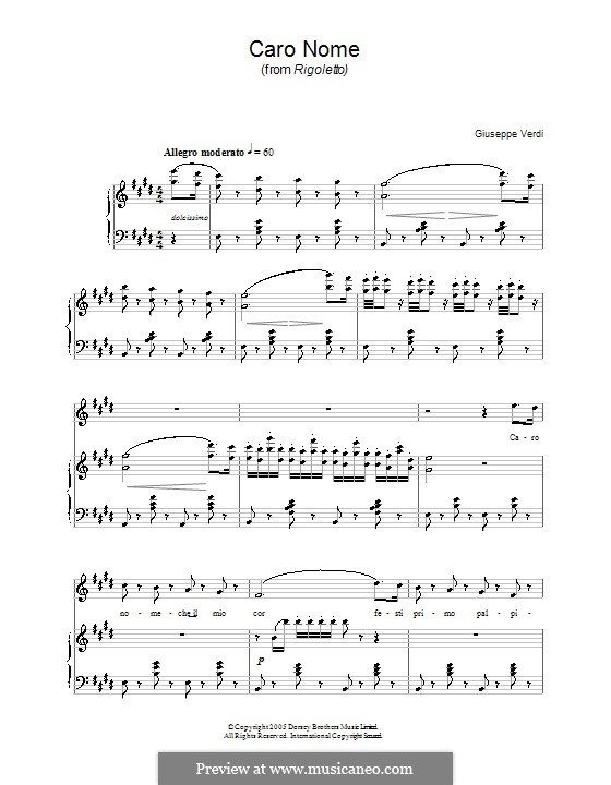 Caro nome ceil mio cor: Для голоса и фортепиано by Джузеппе Верди