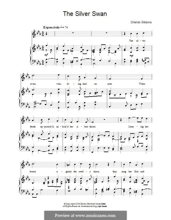 The Silver Swan: Для голоса и фортепиано by Орландо Гиббонс