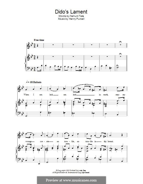 Плач Дидоны: Для голоса и фортепиано (high quality sheet music) by Генри Пёрсел