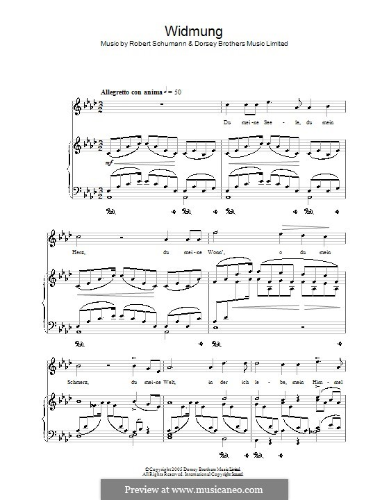 No.1 Посвящение: Клавир с вокальной партией (ноты высокого качества) by Роберт Шуман