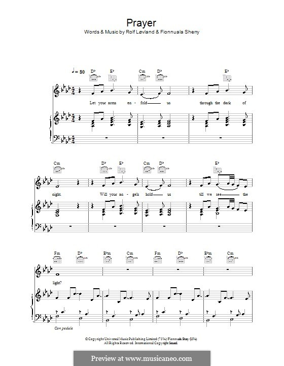 Prayer: Для голоса и фортепиано или гитары (Hayley Westenra) by Fionnuala Sherry, Nikki Matheson, Rolf Løvland
