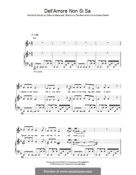 Dell'Amore non Si Sa (Hayley Westenra): Для голоса и фортепиано (или гитары) by Andrea Sandri, Bafunno De Bernardini, Mauro Malavasi
