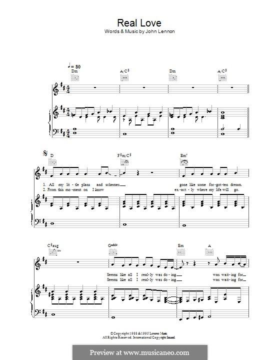 Real Love (The Beatles): Для голоса и фортепиано (или гитары) by John Lennon