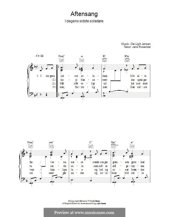 Aftensang I Dagens Sidste Soledans: Для голоса и фортепиано (или гитары) by Ole Ugilt Jensen