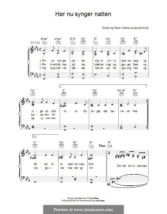 Hør Nu Synger Natten: Для голоса и фортепиано (или гитары) by Marie Louise Schmidt