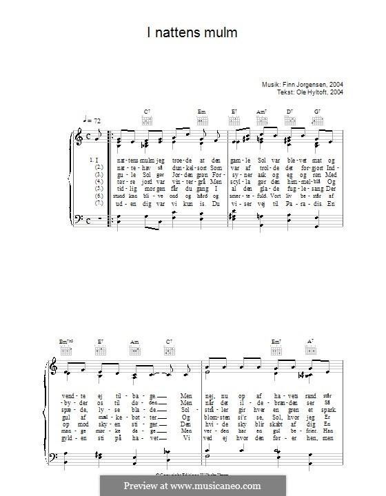 I Nattens Mulm: Для голоса и фортепиано (или гитары) by Finn Jørgensen