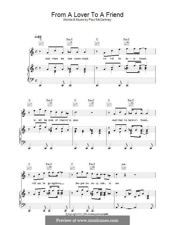 From a Lover to a Friend: Для голоса и фортепиано (или гитары) by Paul McCartney
