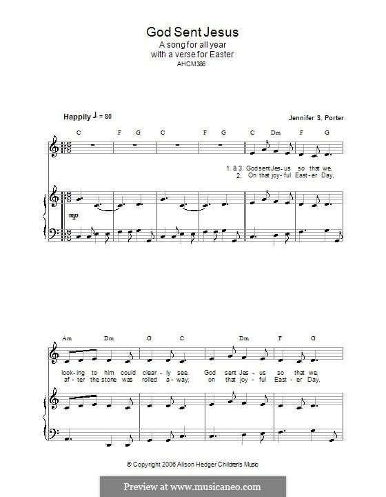 God Sent Jesus (Alison Hedger): Для голоса и фортепиано (или гитары) by Jennifer S. Porter