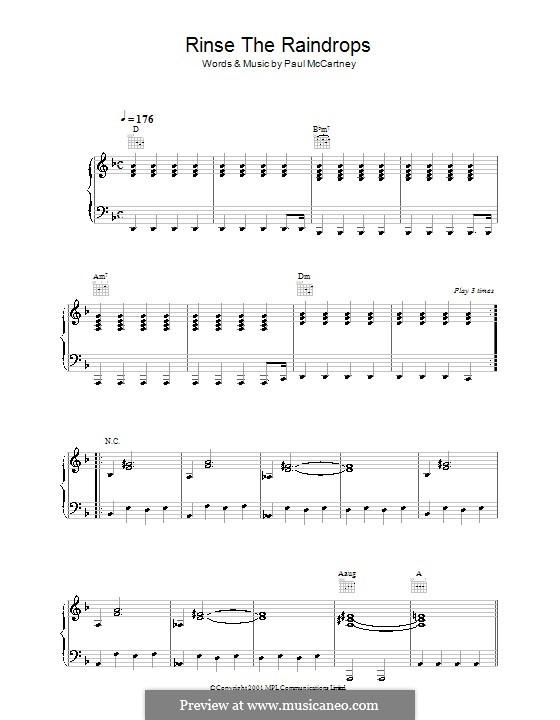 Rinse the Raindrops: Для голоса и фортепиано (или гитары) by Paul McCartney