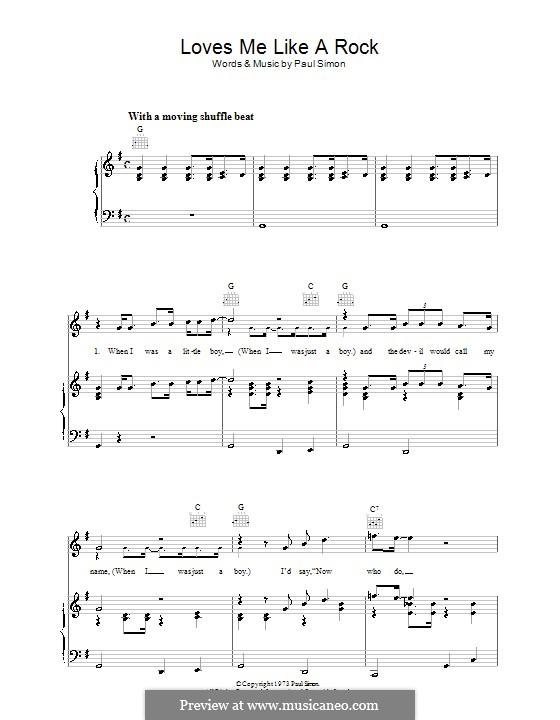 Loves Me Like a Rock: Для голоса и фортепиано (или гитары) by Paul Simon