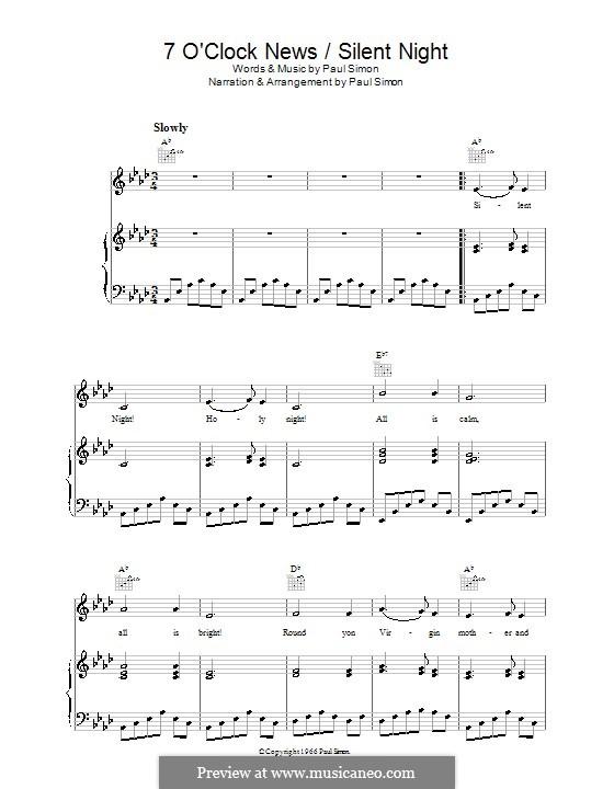 7 O'Clock News/Silent Night: Для голоса и фортепиано (или гитары) by Paul Simon