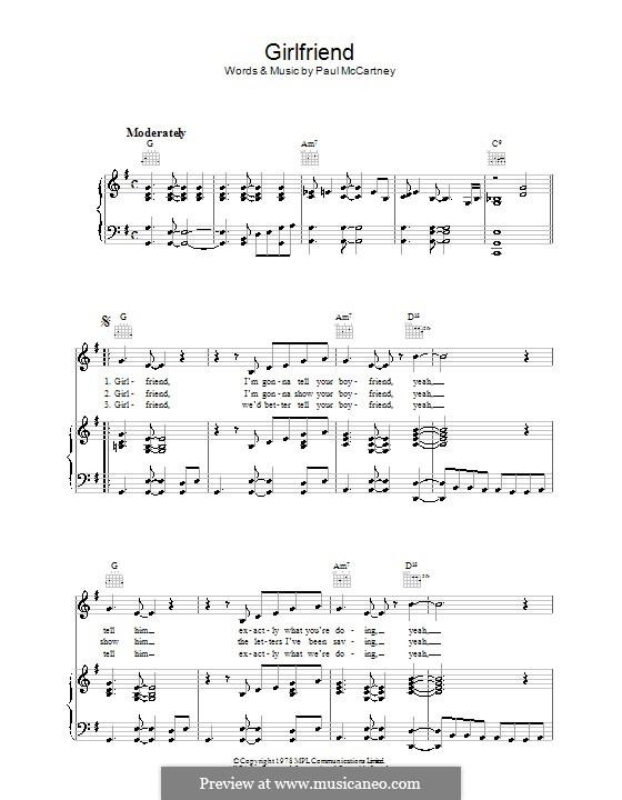 Girlfriend: Для голоса и фортепиано (или гитары) by Paul McCartney
