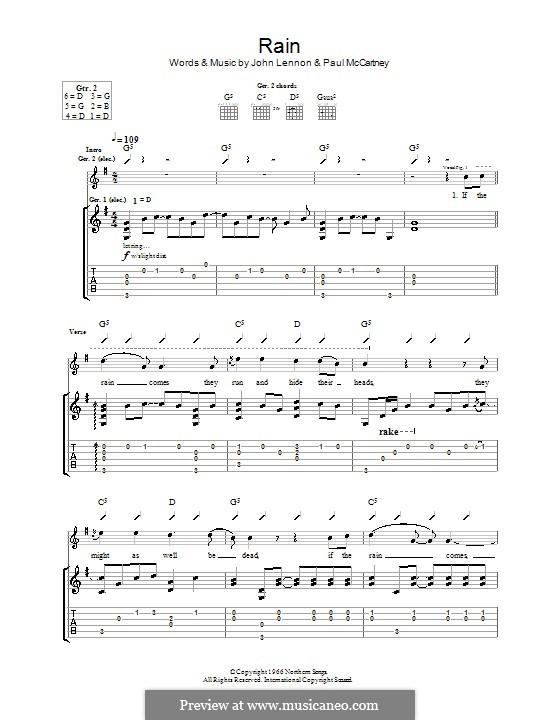 Rain (The Beatles): Гитарная табулатура by John Lennon, Paul McCartney