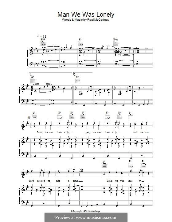 Man We Was Lonely: Для голоса и фортепиано (или гитары) by Paul McCartney